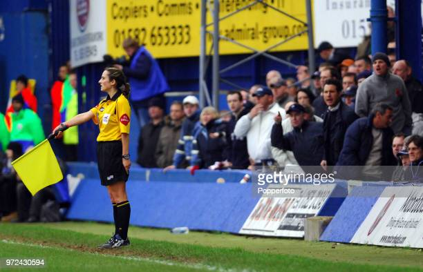 Assistant Referee Amy Rayner is heckled by the crowd during a Championship match between Luton Town and Queens Park Rangers at Kenilworth Road in...