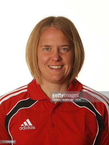 Assistant referee Anna Nystrom of Sweden poses for an official portrait at the FIFA Women's Referees Training Camp ahead of the 2011 Algarve Cup on...