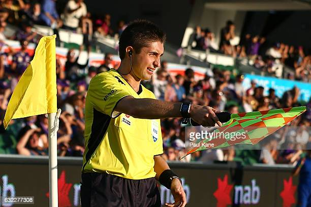 Assistant referee Ashley Beecham signals during the round 16 ALeague match between Perth Glory and Melbourne Victory at nib Stadium on January 21...
