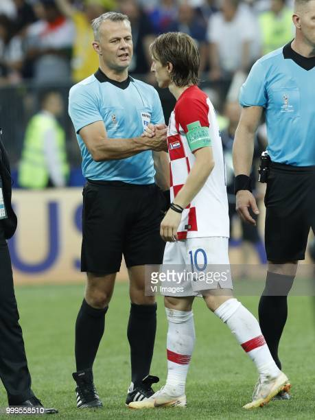 assistant referee Bjorn Kuipers Luka Modric of Croatia during the 2018 FIFA World Cup Russia Final match between France and Croatia at the Luzhniki...