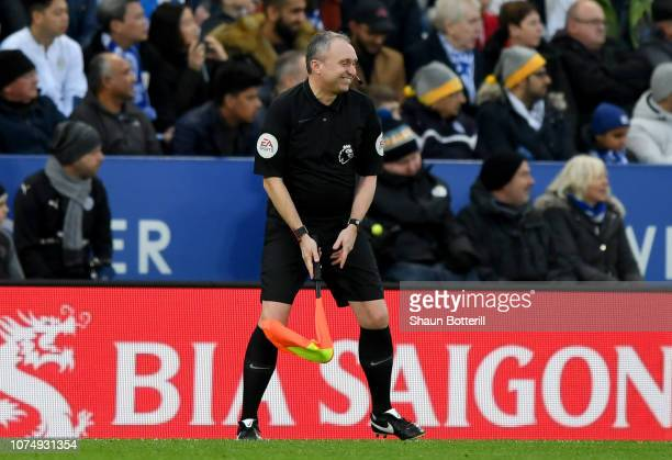 Assistant referee Darren Cann in action during the Premier League match between Leicester City and Manchester City at The King Power Stadium on...