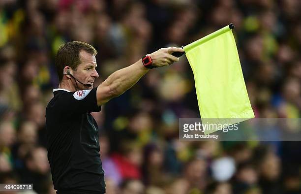 Assistant referee Derek Eaton flags an offside during the Barclays Premier League match between Norwich City and West Bromwich Albion at Carrow Road...
