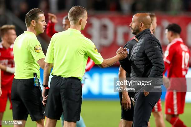 Assistant referee Hessel Steegstra, Referee Danny Makkelie, Assistant referee Jan de Vries and Coach Pascal Jansen of AZ during the Dutch Eredivisie...
