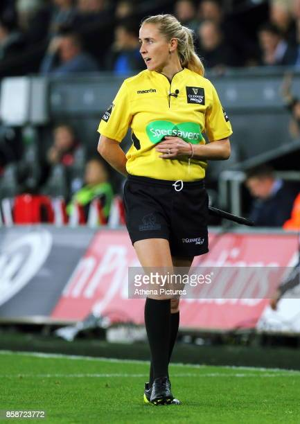 Assistant referee Joy Neville during the Guinness PRO14 Round 6 match between Ospreys and Scarlets at The Liberty Stadium on October 07 2017 in...