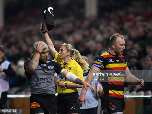 Assistant Referee Joy Neville in action during the European Rugby Challenge Cup match between Gloucester Rugby and Stade Rochelais at Kingsholm on...