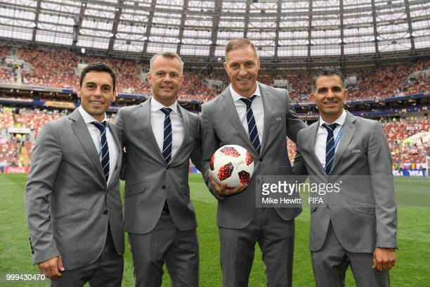 Assistant referee Juan Pablo Belatti Fourth official Bjorn Kuipers Referee Nestor Pitana and Assistant referee Hernan Maidana pose for a picture...