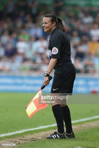 Assistant Referee Lisa Rashid in action during the Sky Bet League One match between Northampton Town and Plymouth Argyle at Sixfields on April 21...