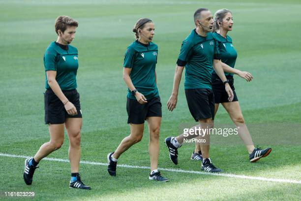Assistant referee Michelle O'Neill referee Stephanie Frappart fourth official Cuneyt Cakir and assistant referee Manuela Nicolosi during a training...