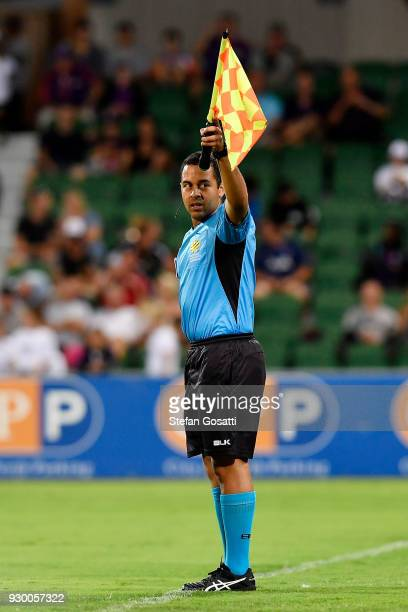 Assistant Referee Scott Edeling during the round 22 ALeague match between the Perth Glory and the Central Coast Mariners at nib Stadium on March 10...