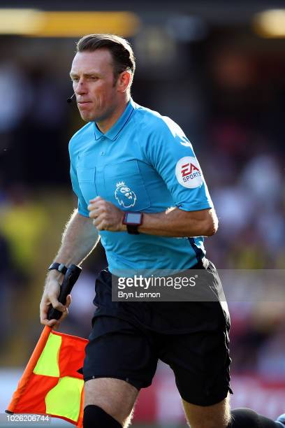 Assistant Referee Scott Ledger in action during the Premier League match between Watford FC and Tottenham Hotspur at Vicarage Road on September 2...