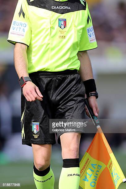 Assistant referee seen during the Serie A match between ACF Fiorentina and UC Sampdoria at Artemio Franchi on April 3 2016 in Florence Italy