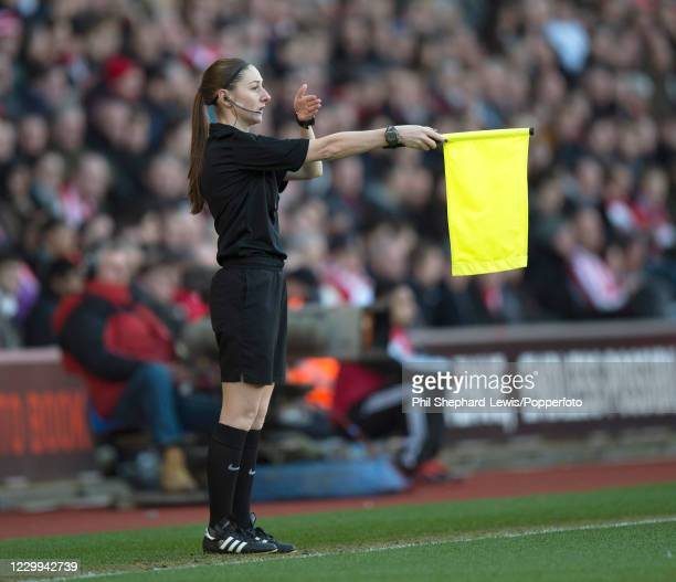 Assistant referee Sian Massey in action during the Barclays Premier League match between Southampton and West Bromwich Albion at St Mary's Stadium on...