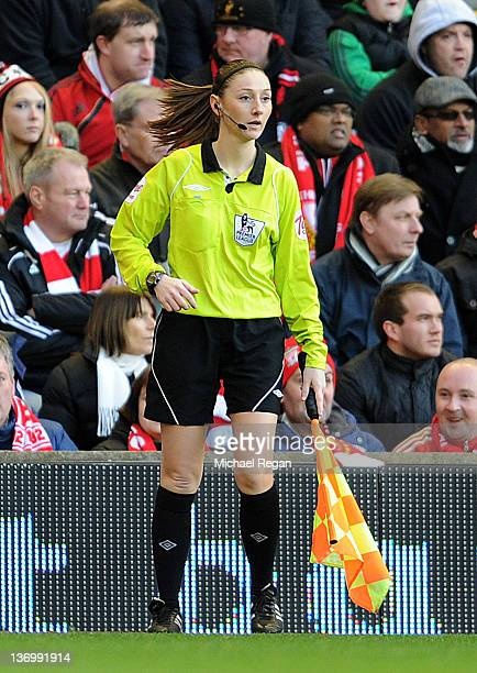 Assistant Referee Sian Massey in action during the Barclays Premier League match between Liverpool and Stoke City at Anfield on January 14, 2012 in...