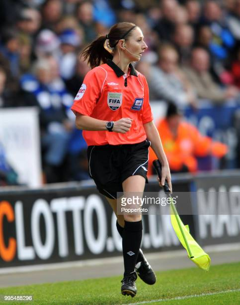 Assistant Referee Sian Massey in action during the Npower Championship match between Leicester City and Preston North End at the King Power Stadium...