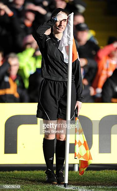 Assistant Referee Sian Massey looks on during the Barclays Premier League match between Blackpool and Aston Villa at Bloomfield Road on February 12,...