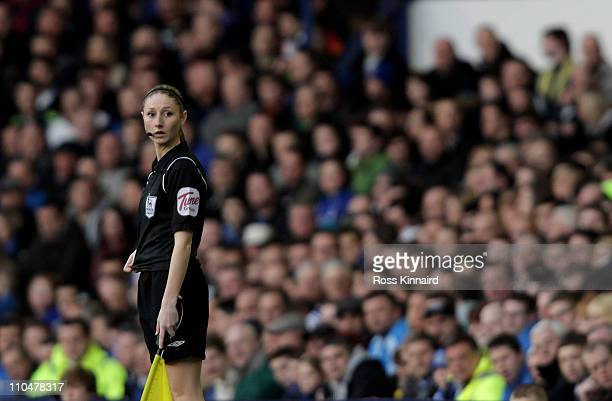 Assistant Referee Sian Massey looks on during the Barclays Premier League match between Everton and Fulham at Goodison Park on March 19, 2011 in...
