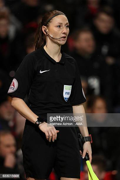 Assistant Referee Sian Massey looks on during the FA Cup fourth round match between Manchester United and Wigan Athletic at Old Trafford on January...