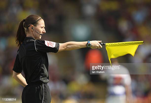 Assistant referee Sian Massey looks on during the npower Championship match between Watford and Queens Park Rangers at Vicarage Road on April 30,...