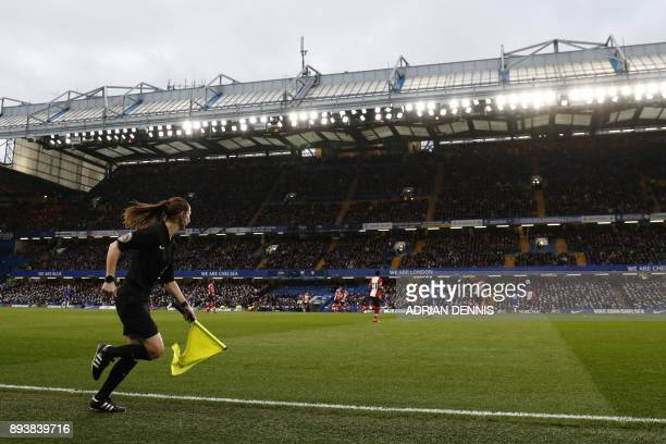 Assistant referee Sian MasseyEllis follows play during the English Premier League football match between Chelsea and Southampton at Stamford Bridge...