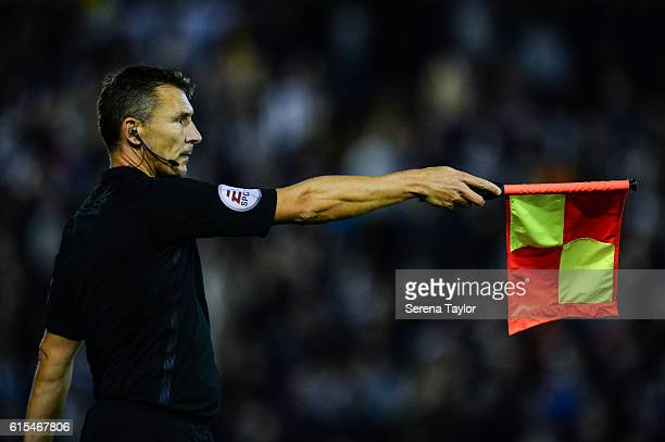 Assistant Referee Simon Beck signals the offside rule during the Sky Bet Championship Match between Barnsley and Newcastle United at Oakwell Stadium...
