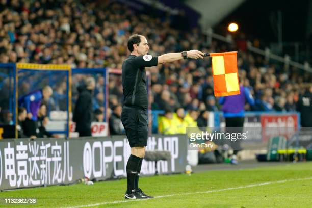 Assistant Referee Stephen Child flags for offside during the Premier League match between Huddersfield Town and Wolverhampton Wanderers at John...