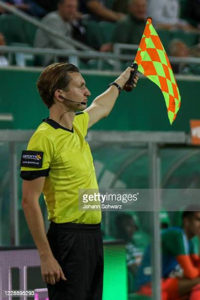 Assistant referee with headset during the tipico Bundesliga match between SK Rapid Wien and LASK at Allianz Stadion on October 4 2020 in Vienna...