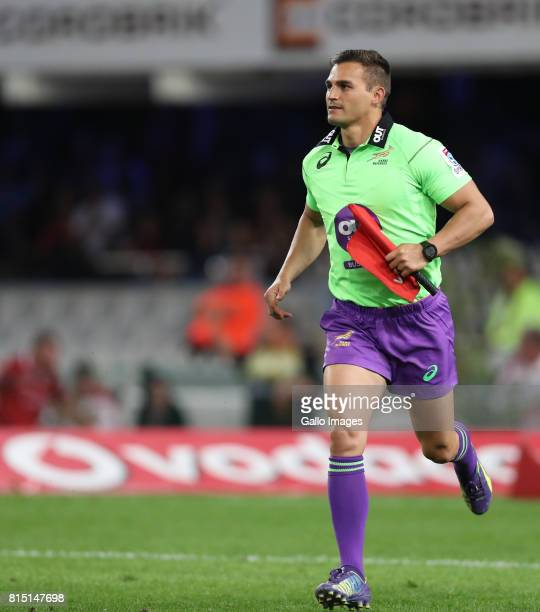 Assistant RefereeAJ Jacobs during the Super Rugby match between Cell C Sharks and Emirates Lions at Growthpoint Kings Park on July 15 2017 in Durban...