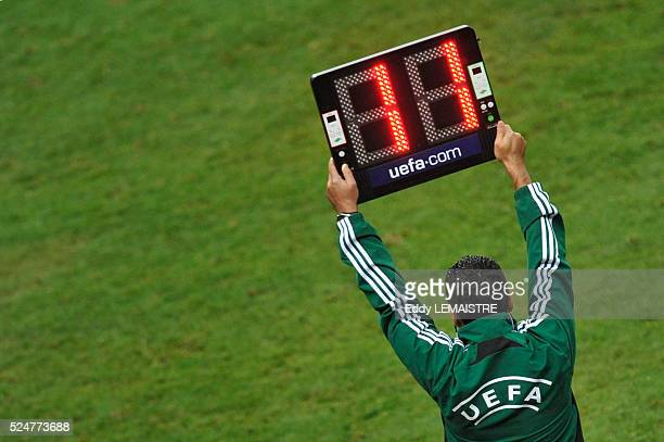 Assistant referee's illustration with his scoreboard during the Euro 2012 Qualifying soccer match France vs Romania at the Stade de France in Saint...
