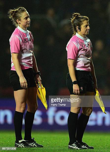 Assistant Referees Sara Cox and Claire Daniels look on during the Greene King IPA Championship match between Bristol Rugby and Cornish Pirates at...