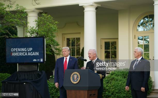 Assistant Secretary for Health admiral Brett Giroir speaks as US President Donald Trump and US Vice President Mike Pence look on during a news...