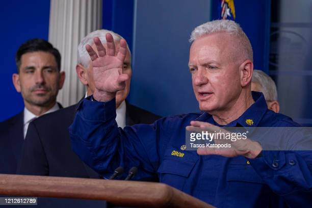 Assistant Secretary for Health and head of the Public Health Service Admiral Brett Giroir speaks to the media in the press briefing room at the White...