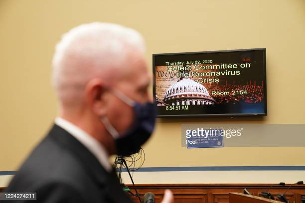 S Assistant Secretary for Health and Human Services Admiral Brett P Giroir prepares to testify at the start of a House Select Subcommittee on the...