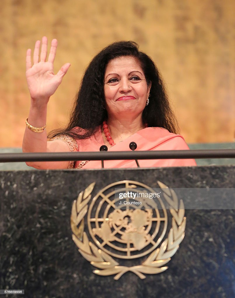 Assistant Secretary General at UN Woman Lakshmi Puri speaks after receiving the Novus Award for Gender Equality at United Nations on July 17, 2016 in New York City.