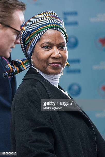 Assistant Secretary General Phumzile MlamboNgcuka attends the 2015 International Women's Day March at Dag Hammarskjold Plaza on March 8 2015 in New...