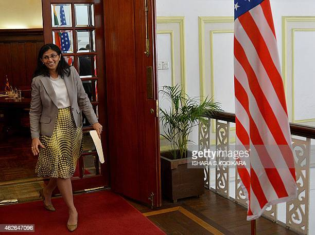 US Assistant Secretary of State for South and Central Asia Nisha Biswal arrives to meet Sri Lankan Foreign Minister Mangala Samaraweera in Colombo on...