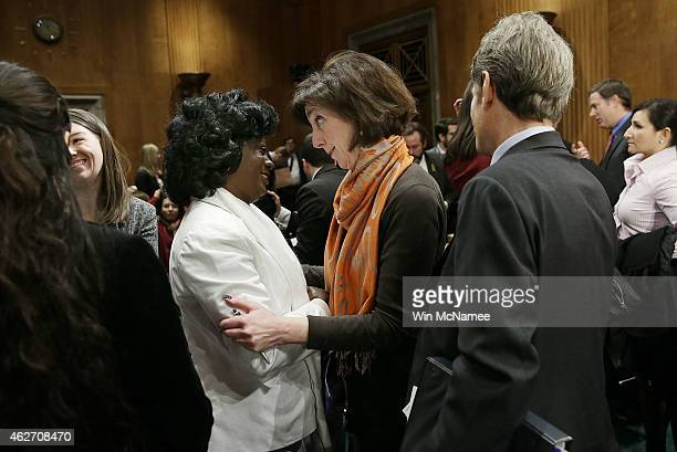 Assistant Secretary of State For Western Hemisphere Affairs Roberta Jacobson embraces the leader of Cuba's Ladies in White activist group Berta Solar...