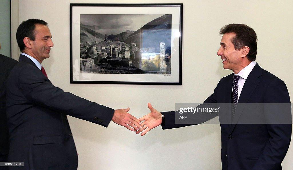 US Assistant Secretary of State Philip Gordon (L) shakes hand with Georgian Prime Minister Bidzina Ivanishvili during their meeting in Tbilisi, Georgia on November 16, 2012. Philip Gordon is on his working visit to Georgia.