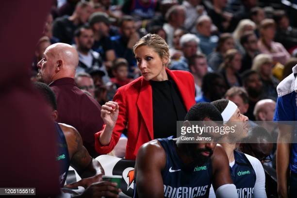 Assistant to the Dallas Mavericks basketball staff Jenny Boucek looks on during the game against the Sacramento Kings on February 12 2020 at the...