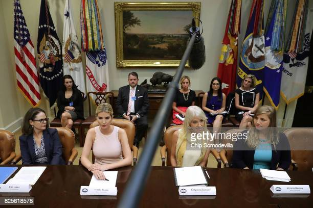 Assistant to the President and Donald Trump's daughter Ivanka Trump and Counselor to the President Kellyanne Conway host a listening session with...
