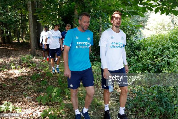 assistant trainer Andre Ooijer of PSV Luuk de Jong of PSV during the First Training PSV at the De Herdgang on June 27 2018 in Eindhoven Netherlands