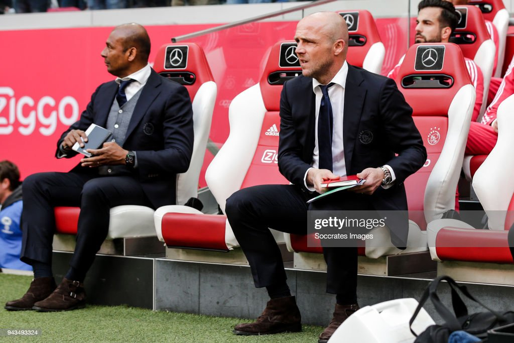 assistant trainer Aron Winter of Ajax, assistant trainer Alfred Schreuder of Ajax during the Dutch Eredivisie match between Ajax v Heracles Almelo at the Johan Cruijff Arena on April 8, 2018 in Amsterdam Netherlands