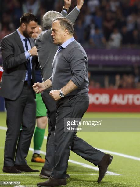 assistant trainer Cor Pot of Sparta Rotterdam coach Dick Advocaat of Sparta Rotterdam during the Dutch Eredivisie match between Sparta Rotterdam and...