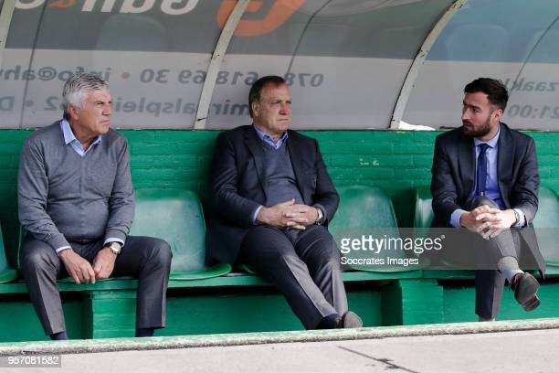assistant trainer Cor Pot of Sparta Rotterdam coach Dick Advocaat of Sparta Rotterdam assistant trainer Leen van Steensel of Sparta Rotterdam during...