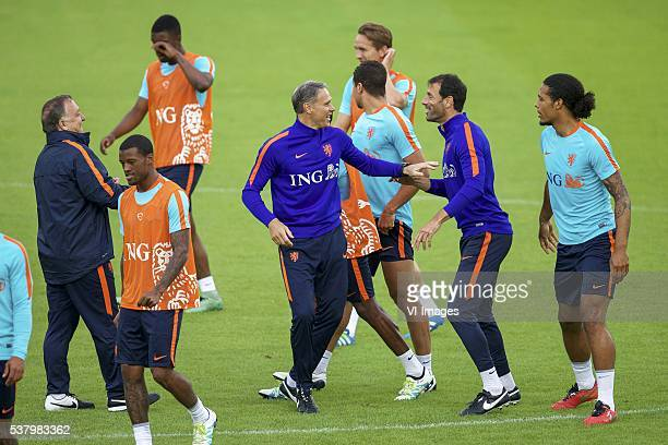 assistant trainer Dick Advocaat of Holland Georginio Wijnaldum of Holland Riechedly Bazoer of Holland assistant trainer Marco van Basten of Holland...