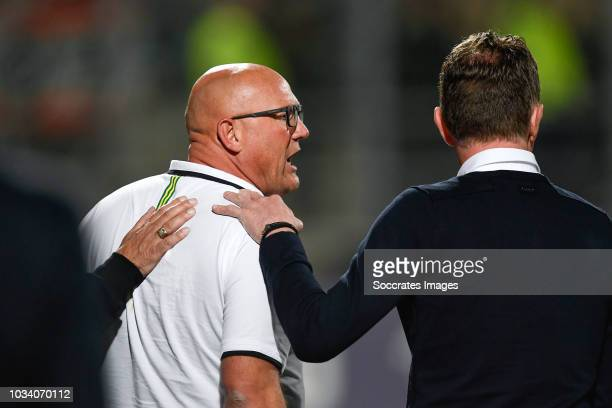assistant trainer Dirk Heesen of ADO Den Haag coach Alfons Groenendijk of ADO Den Haag during the Dutch Eredivisie match between ADO Den Haag v PSV...
