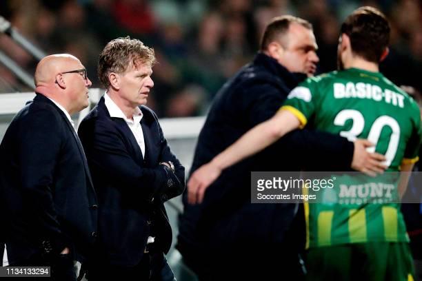 assistant trainer Dirk Heesen of ADO Den Haag coach Alfons Groenendijk of ADO Den Haag goalkeeper coach Raymond Mulder of ADO Den haag Erik...