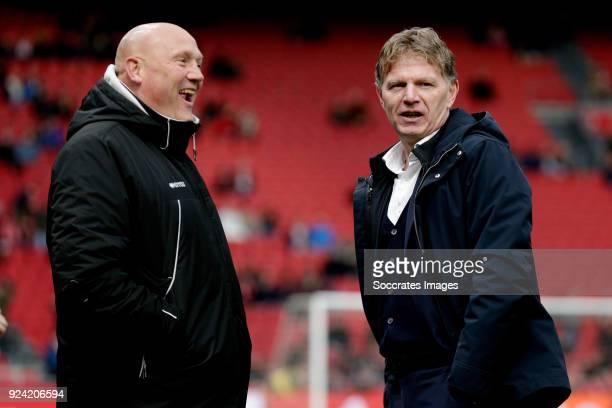 assistant trainer Dirk Heesen of ADO Den Haag coach Alfons Groenendijk of ADO Den Haag during the Dutch Eredivisie match between Ajax v ADO Den Haag...