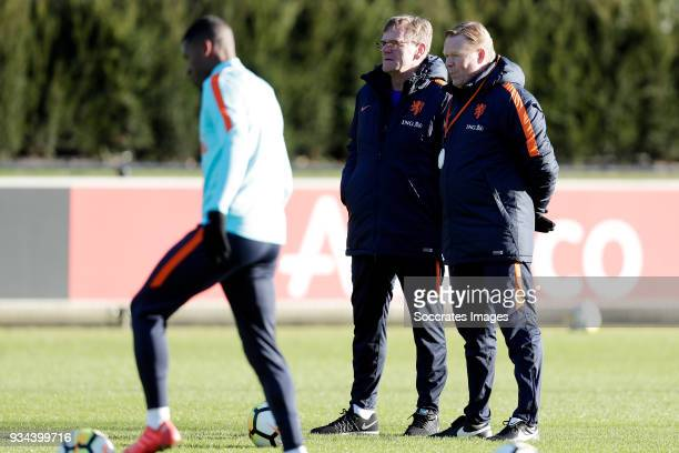assistant trainer Dwight Lodeweges of Holland coach Ronald Koeman of Holland during the Training Holland at the KNVB Campus on March 19 2018 in Zeist...