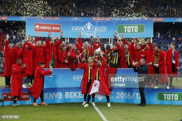 assistant trainer Edward Sturing of Vitesse coach Henk Fraser of Vitesse Arnold Kruiswijk of Vitesse Kevin Diks of Vitesse Alexander Buttner of...