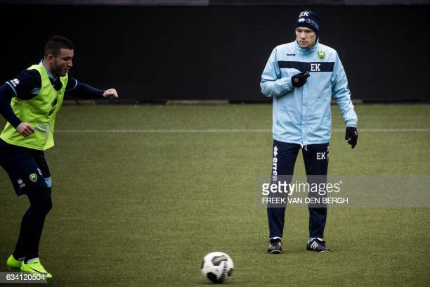 Assistant trainer Ekrem Kahya takes part in a training session of ADO Den Haag in The Hague on February 6 2017 / AFP / ANP / Freek van den Bergh /...